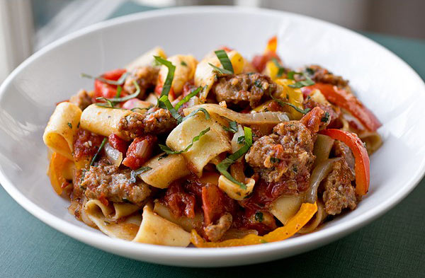 Pappardelle with Spicy Italian Sausage
