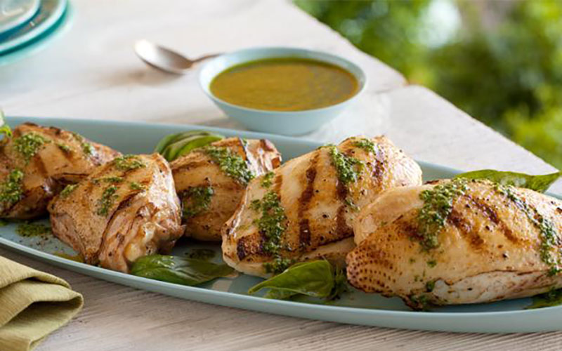 Grilled Chicken with Basil Dressing paired with Vin Bon Pinot Chardonnay