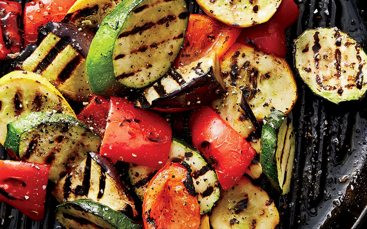 Grilled Vegetables with Shaved Parmigiano paired with Vin Bon's Napa Blend