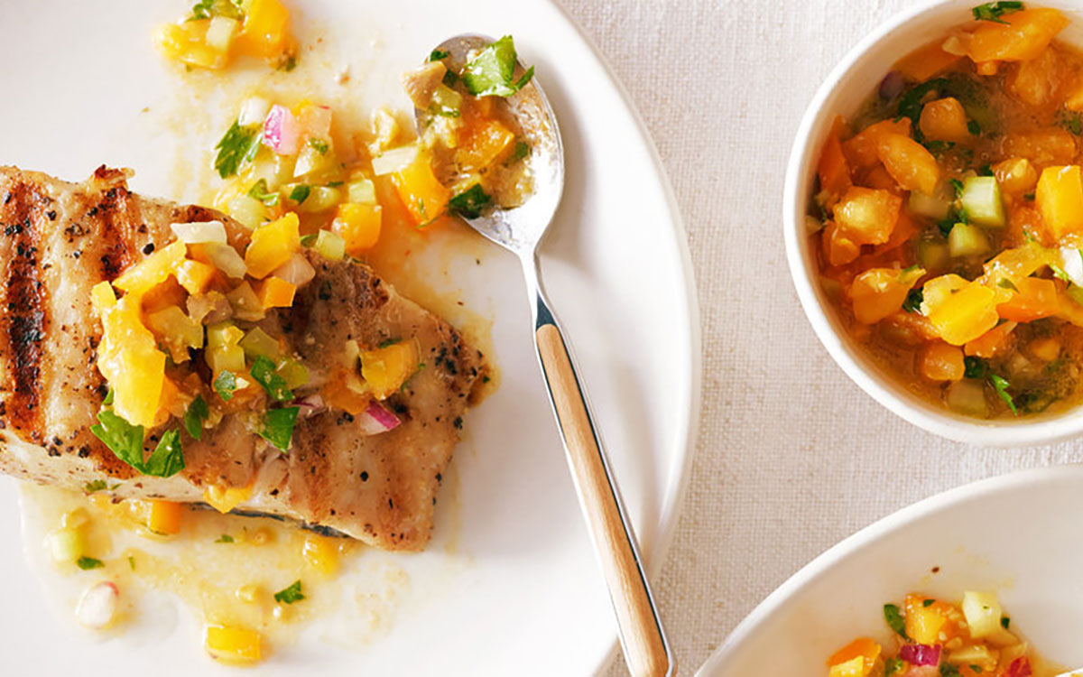 Grilled Halibut with Grape tomato and Mango Salsa