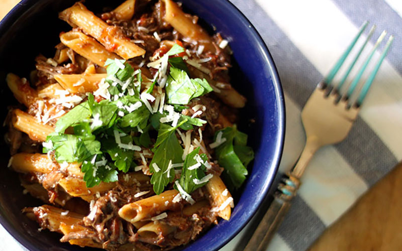 Pasta with Braised Short Ribs Paired With Amarone
