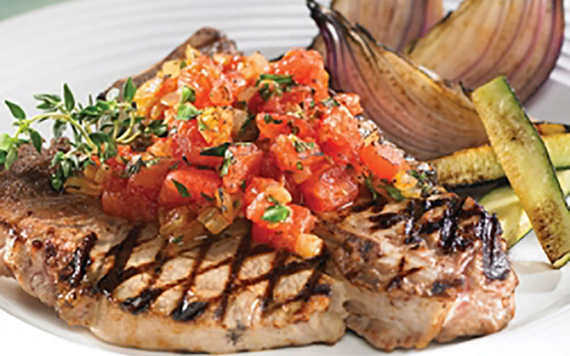 Grilled Veal Chops with Tomato Herb Saute
